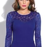 Синее коктейльное платье длины миди ds00074bl-4