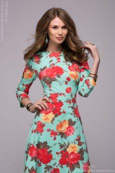 8e08ffce9c4 Купить длинное платье мятного цвета с цветочным принтом в интернет-магазине  в Воронеже ...
