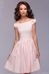 Короткое платье нежно-розового цвета с бантиками на плечах купить в интернет-магазине