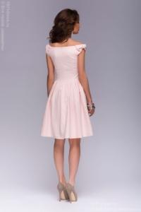 Купить Короткое платье нежно-розового цвета с бантиками на плечах в магазине женской одежды