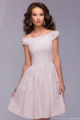 Короткое платье цвета пудры с бантиками на плечах купить в Воронеже