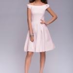 Короткое платье цвета пудры с бантиками на плечах dm00388pw-2