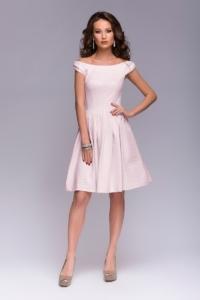 Короткое платье цвета пудры с бантиками на плечах купить в интернет-магазине