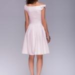 Короткое платье цвета пудры с бантиками на плечах dm00388pw-3