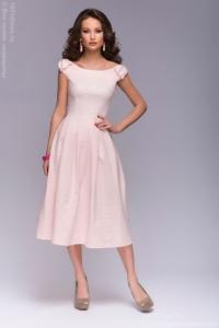 Нежно-розовое платье миди с бантиками на плечах купить в интернет-магазине
