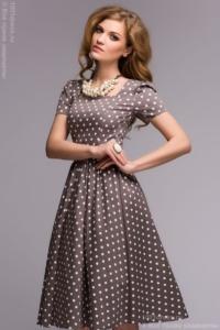 Платье цвета мокко в горошек в стиле ретро купить в Воронеже