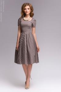 Платье цвета мокко в горошек в стиле ретро купить в интернет-магазине