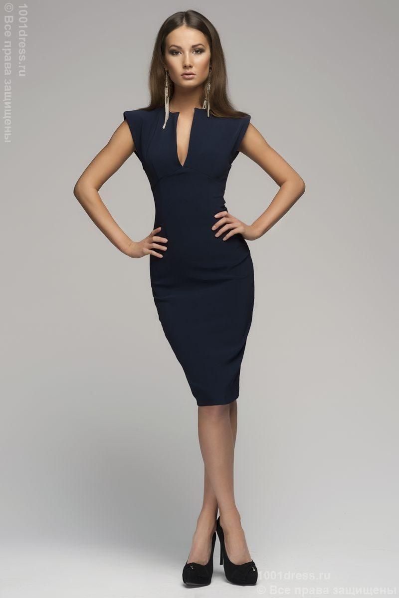 Синее платье-футляр купить в интернет-магазине