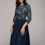 Синее платье миди с рукавом «летучая мышь» dm00234bl-3