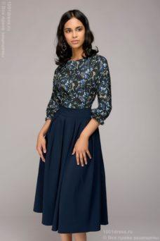 59b71583578 ... по России Синее платье миди с рукавом