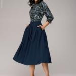 Синее платье миди с рукавом «летучая мышь» dm00234bl-4
