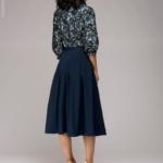 Синее платье миди с рукавом «летучая мышь» dm00234bl-5