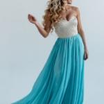 Вечернее платье-корсет с золотым верхом и голубой юбкой zd00303lb-2