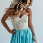 Вечернее платье-корсет с золотым верхом и голубой юбкой zd00303lb-3