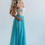 Вечернее платье-корсет с золотым верхом и голубой юбкой zd00303lb-4