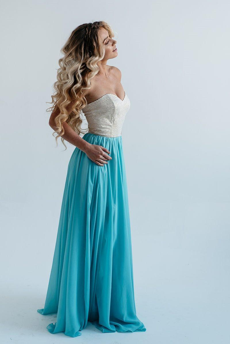 Купить Вечернее платье-корсет с золотым верхом и голубой юбкой в магазине женской одежды в Воронеже