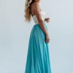 Вечернее платье-корсет с золотым верхом и голубой юбкой zd00303lb-5