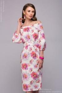 Белое платье длины миди с цветочным принтом и открытыми плечами купить в Воронеже