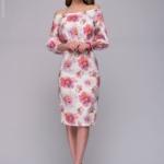 Белое платье длины миди с цветочным принтом и открытыми плечами dm00759wh-2