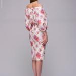 Белое платье длины миди с цветочным принтом и открытыми плечами dm00759wh-3