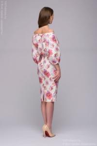 Заказать Белое платье длины миди с цветочным принтом и открытыми плечами с бесплатной доставкой по России