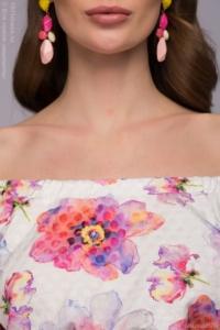 Купить Белое платье длины миди с цветочным принтом и открытыми плечами в магазине женской одежды в Воронеже