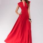 Длинное красное платье с глубоким декольте dm00697rd-1