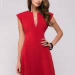 Длинное красное платье с глубоким декольте dm00697rd-2