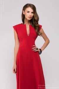 Длинное красное платье с глубоким декольте купить в интернет-магазине