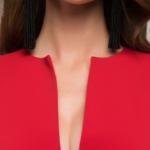 Длинное красное платье с глубоким декольте dm00697rd-4
