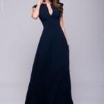 Длинное темно-синее платье с глубоким декольте dm00697db-1