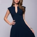 Длинное темно-синее платье с глубоким декольте dm00697db-2