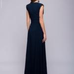 Длинное темно-синее платье с глубоким декольте dm00697db-3