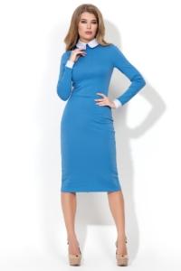 Голубое платье-футляр с белым воротником и манжетами купить в Воронеже