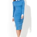 Голубое платье-футляр с белым воротником и манжетами ds00157lb-2