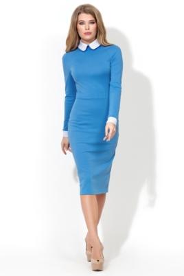 Голубое платье-футляр с белым воротником и манжетами купить в интернет-магазине