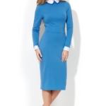 Голубое платье-футляр с белым воротником и манжетами ds00157lb-3