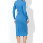 Голубое платье-футляр с белым воротником и манжетами ds00157lb-4