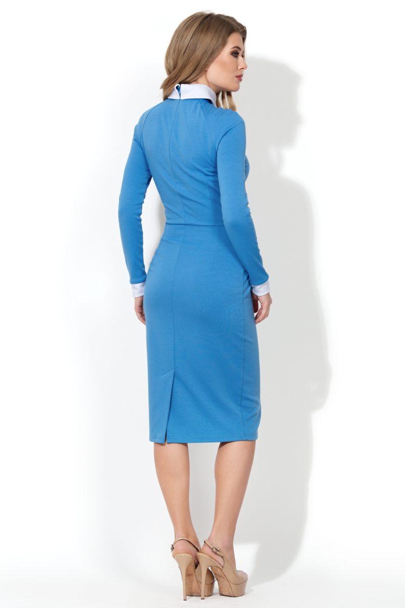 Купить Голубое платье-футляр с белым воротником и манжетами в магазине женской одежды