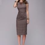 Платье-футляр цвета мокко в горошек dm00204br-4