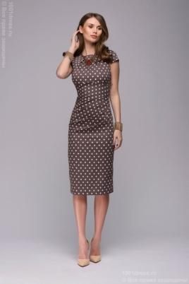 Купить Платье-футляр цвета мокко в горошек в магазине женской одежды в Воронеже