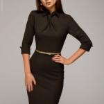 Шоколадное платье-футляр с имитацией галстука dm00455ce-5