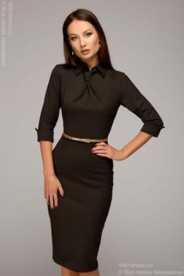 Шоколадное платье-футляр с имитацией галстука купить в Воронеже