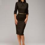 Шоколадное платье-футляр с имитацией галстука dm00455ce-6