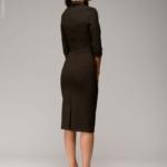 Шоколадное платье-футляр с имитацией галстука dm00455ce-7