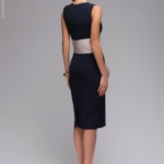 Синее платье-футляр без рукавов с песочным поясом dm00056bl-3