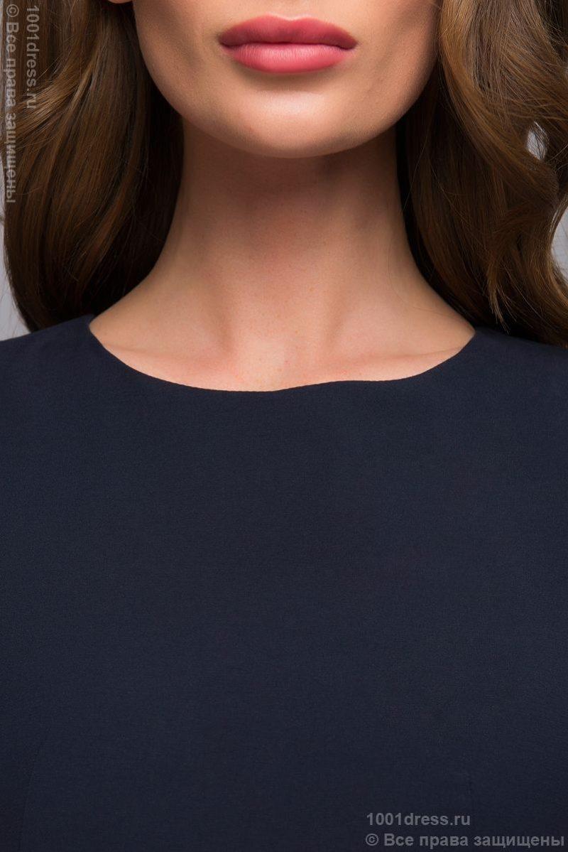 Синее платье-футляр без рукавов с песочным поясом dm00056bl-5
