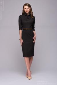 Темно-синее платье-футляр с имитацией галстука купить в интернет-магазине