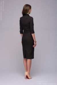 Заказать Темно-синее платье-футляр с имитацией галстука с бесплатной доставкой по России