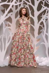 Ванильное платье макси с цветочным принтом и длинными рукавами купить в Воронеже